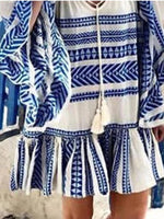 Blue Boho Tribal Printed Tie-Neck Dress