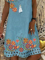Sky Blue Shift Holiday Floral Dress
