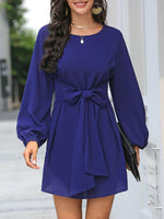 Bow Solid Long Sleeve Dress