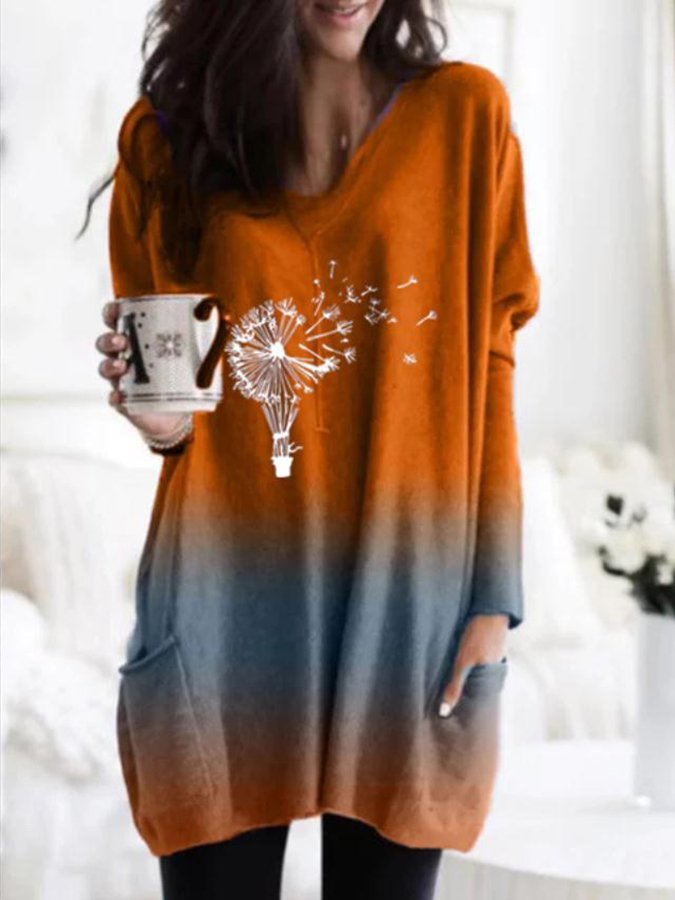 Plant Long Sleeve Casual Dress