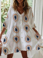 White Printed Shift Half Sleeve Tribal Dress