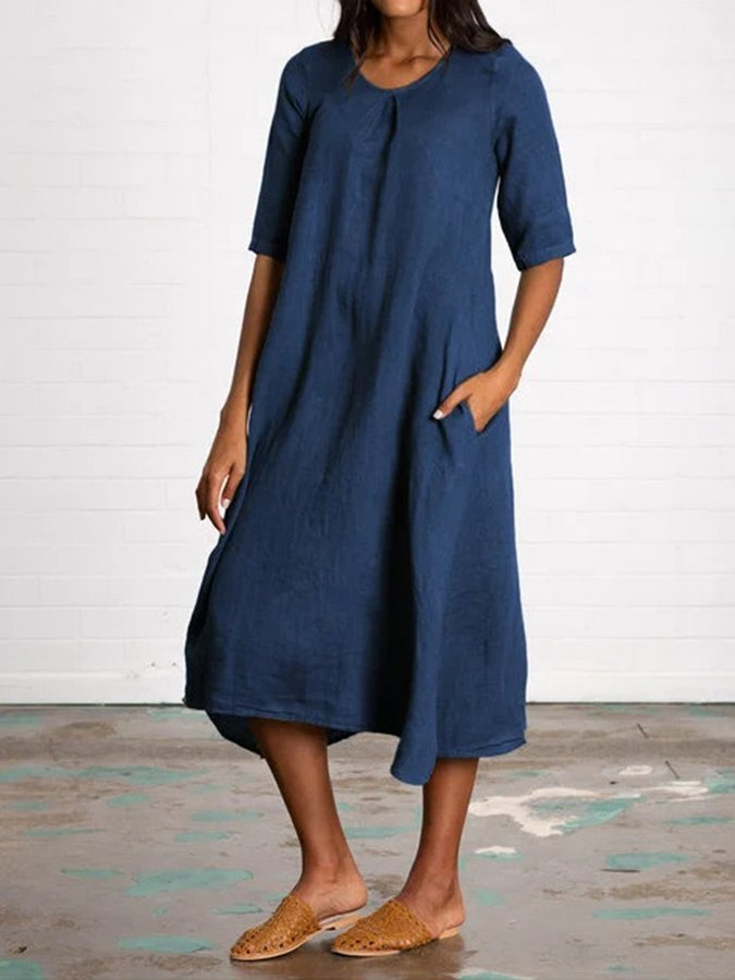 Half Sleeve Shift Casual Dress