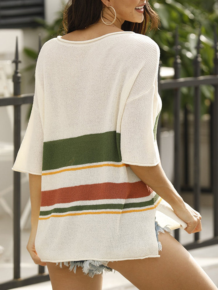 V Neck Half Sleeve Stripes Casual Sweater