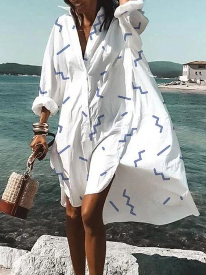 Shirt Collar Zigzag High Low Long Sleeve Dress