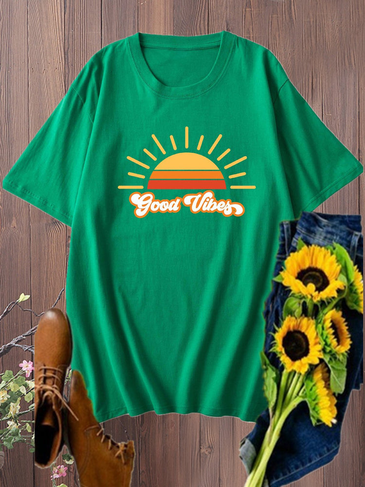 Vintage Short Sleeve Sunshine Good Vibes Letter Printed Plus Size Casual Tops
