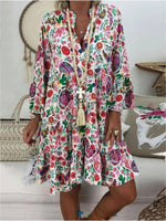 Casual Shift Floral V Neck Dress