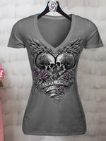 Skull Printed Short Sleeve Round Neck Printed Shirts & Tops