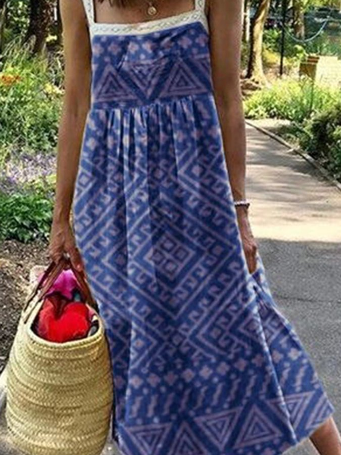 Blue Geometric Printed Square Neck Spaghetti-Strap Holiday Dresses
