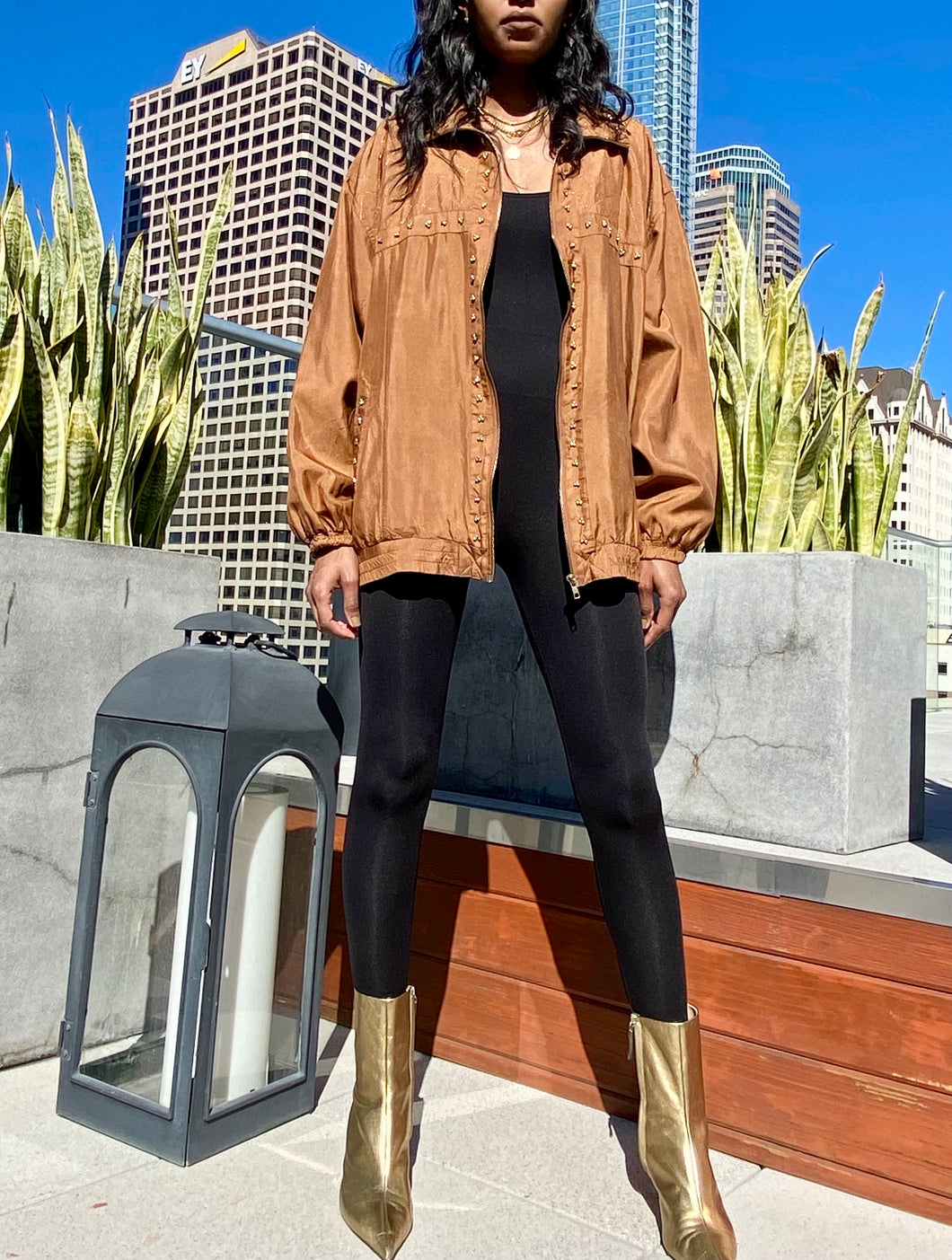 100% SILK OVERSIZED BROWN VINTAGE JACKET