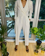 Load image into Gallery viewer, Vintage Chic White Sequin and Beaded Fringe Jumpsuit