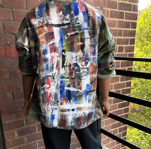 Hand Painted Vintage Abstract Camo Jacket