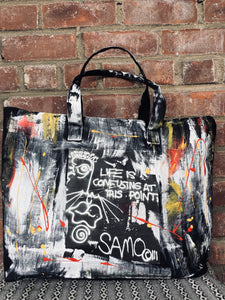 Hand Crafted Basquiat Inspired Zipper Tote