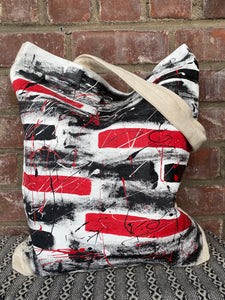 Hand Panted Black & Red Abstract Canvas Tote