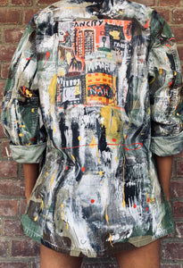 Hand Painted Basquiat Inspired Vintage Camo Jacket