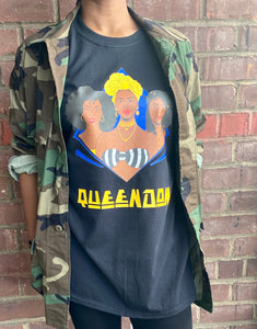 "Black Vintage Inspired ""Queendom"" Graphic Tee"