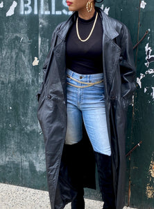 Vintage Long  Leather Belted Coat