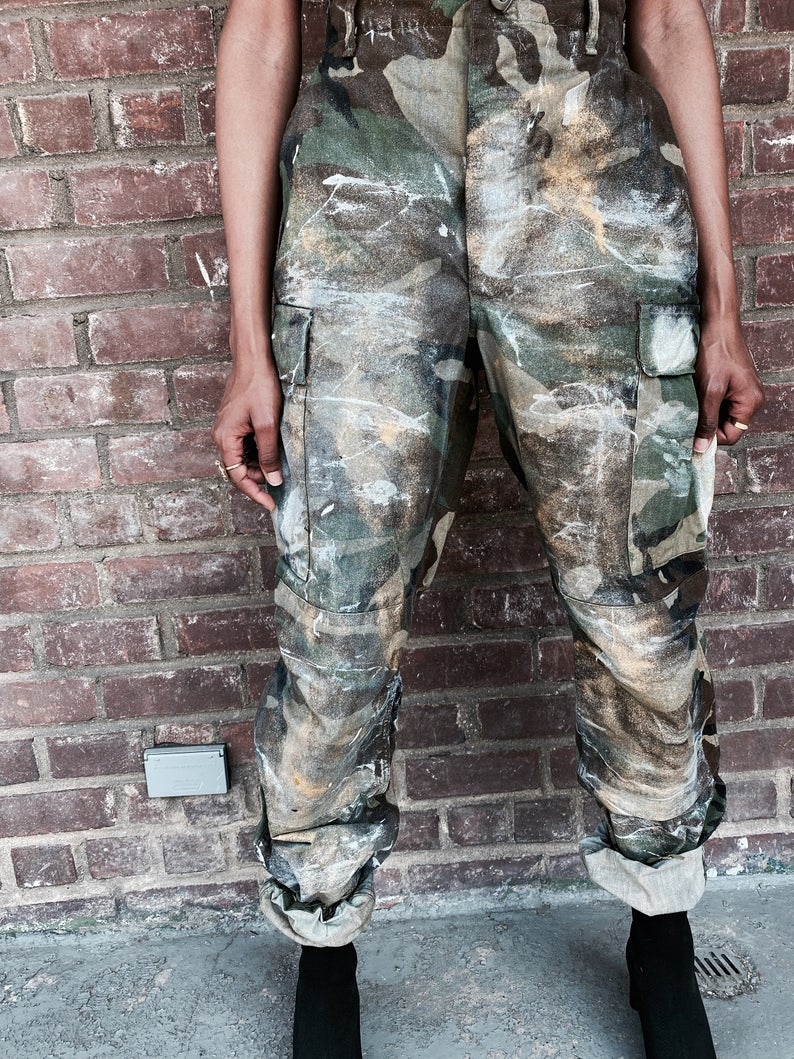 Vintage Hand Painted Camo Surplus Pant