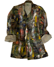 "Load image into Gallery viewer, Hand Painted ""Tribe"" Vintage Camo Jacket"