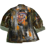 Load image into Gallery viewer, Vintage Hand Painted Basquiat Inspired Camo Jacket