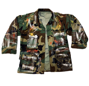 Vintage Hand Painted Saved by Grace Camo Jacket