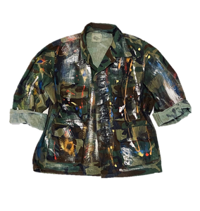 Vintage Hand Painted Basquiat Inspired Camo Jacket