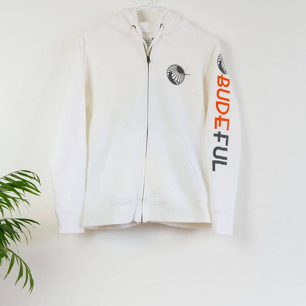 Budeful Womens White Zip Up Hoodie