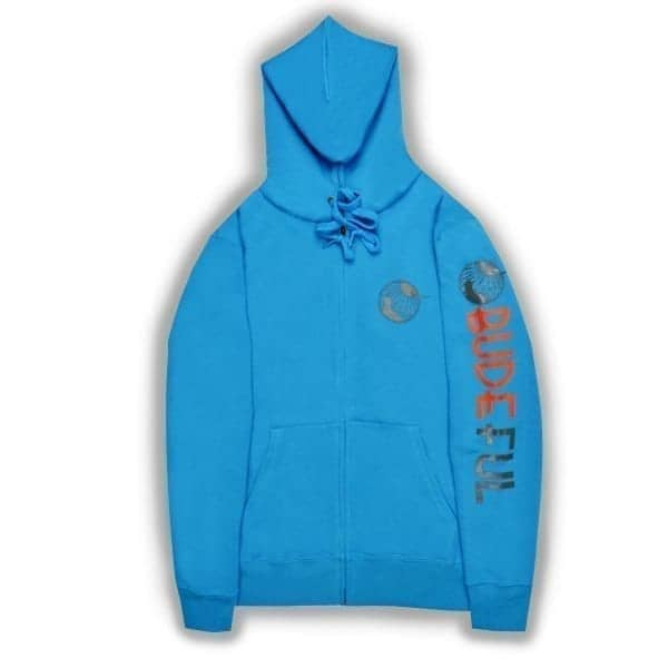 Budeful Womens Azure Blue Zip Up Hoodie