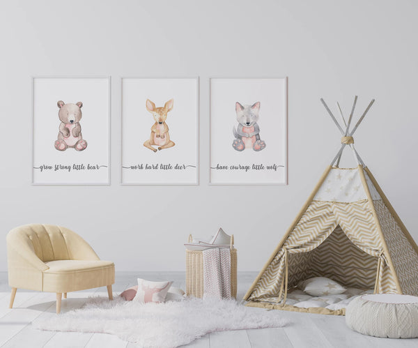 woodland animals nursery wall art