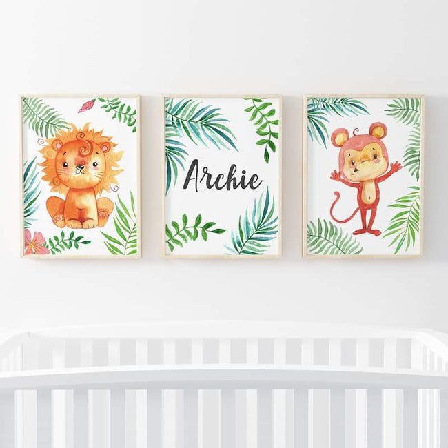 Animal Safari 3 Set - Personalised Name Boy