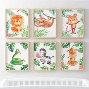 Animal Safari 6 Set (Lion, Sloth, Monkey, Snake, Zebra, Giraffe) - Pompom Prints