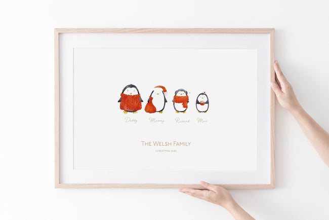Christmas 2020- Personalised Family Penguin Print