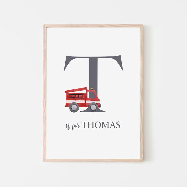 Name Print - Red Fire Engine
