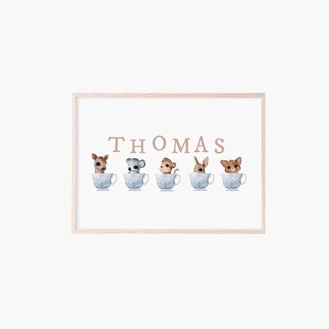 Personalised Baby Animals in Teacups - Blue