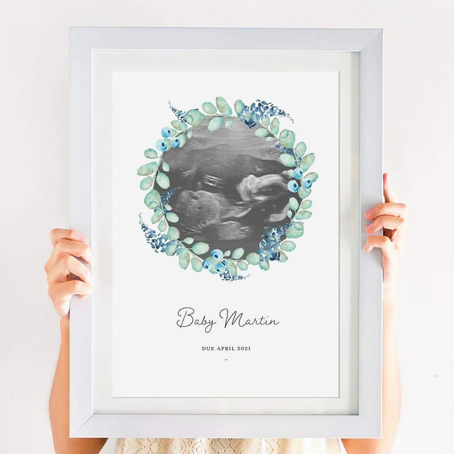 Personalised Baby Scan Portrait - Blue Wreath