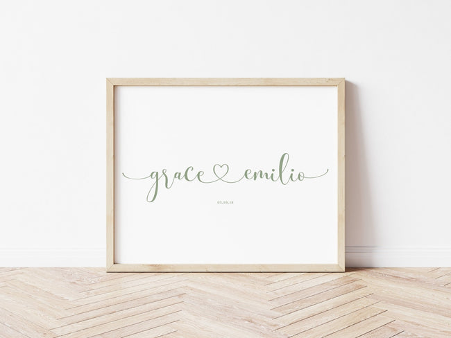 Personalised Linked Hearts Print