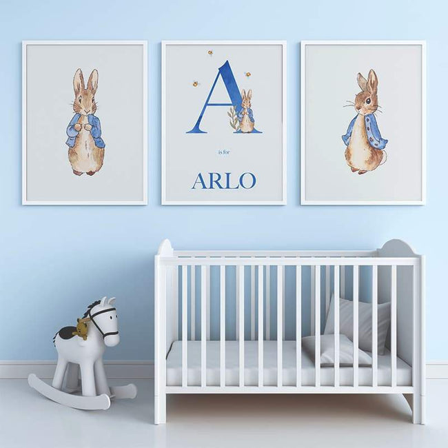 Peter Rabbit - Blue Personalised Name and Letter (3 Set)