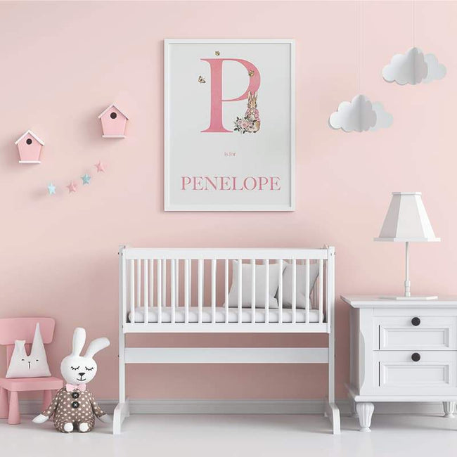 Peter Rabbit - Pink Personalised Name and letter