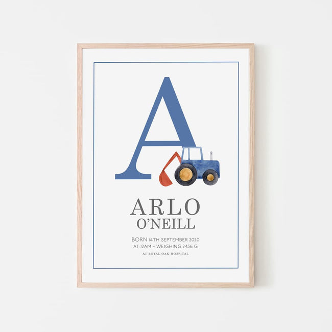 Watercolour vehicles - Personalised Name and Letter Print - Blue