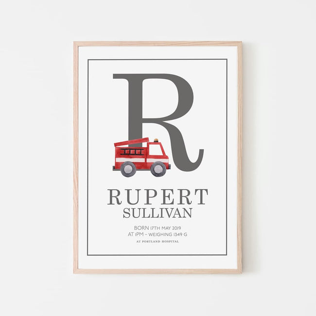 Watercolour vehicles - Personalised Name and Letter Print - Grey