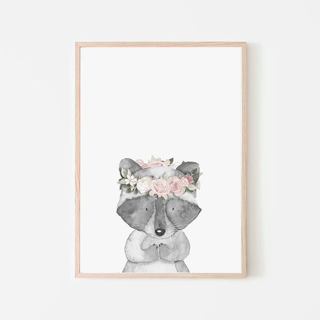 Woodland Animals Pink - Racoon