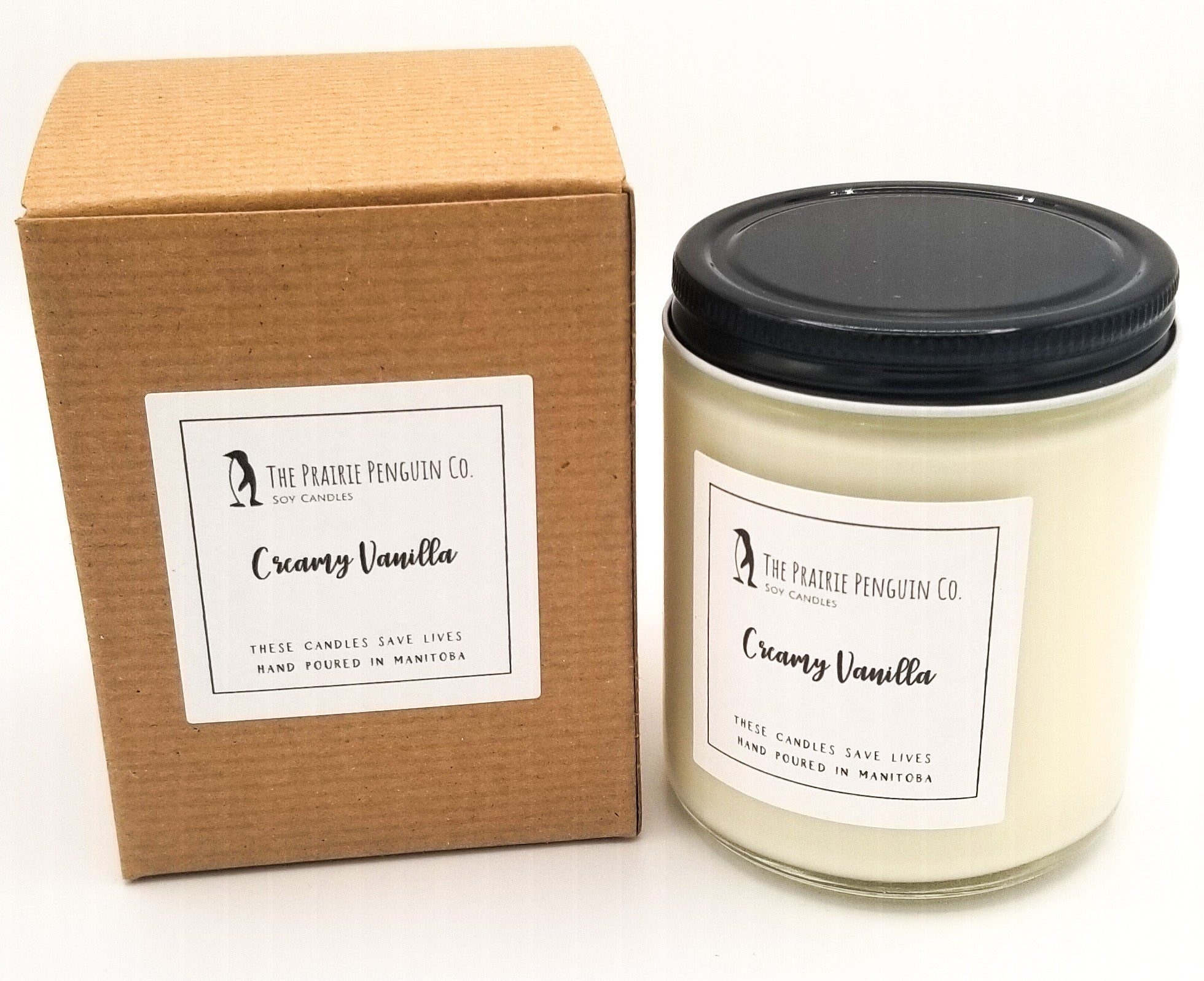 Creamy Vanilla Candle 8oz by The Prairie Penguin