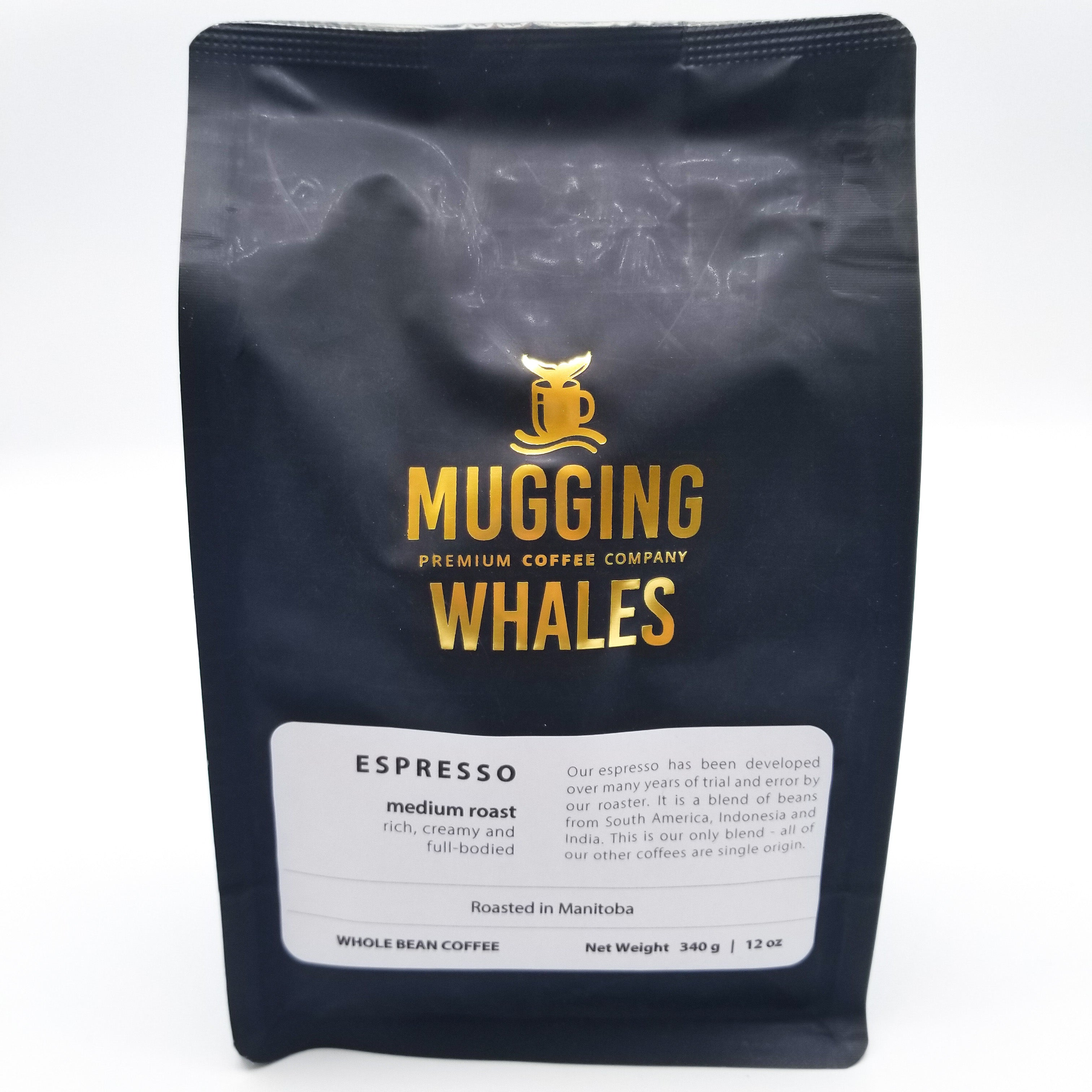 Espresso Medium Roast Coffee 340g by Mugging Whales Premium Coffee