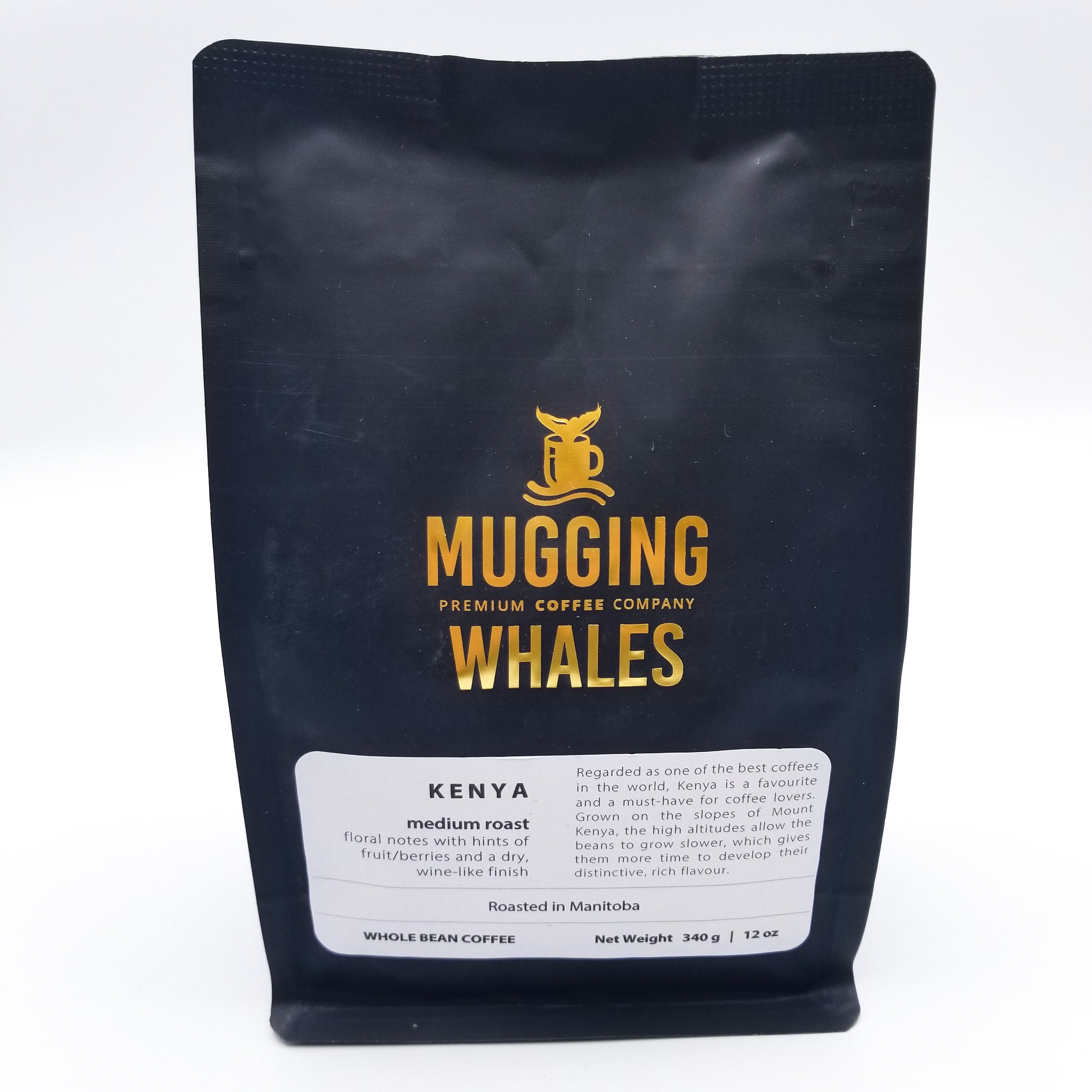 Kenya Medium Roast Coffee 340g by Mugging Whales Premium Coffee