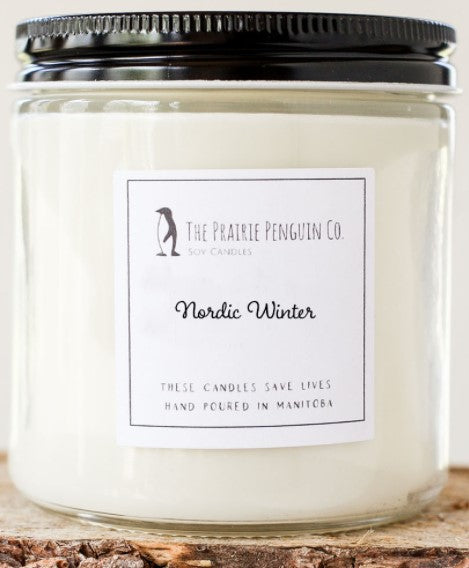 Nordic Winter Candle 8oz By The Prairie Penguin Co