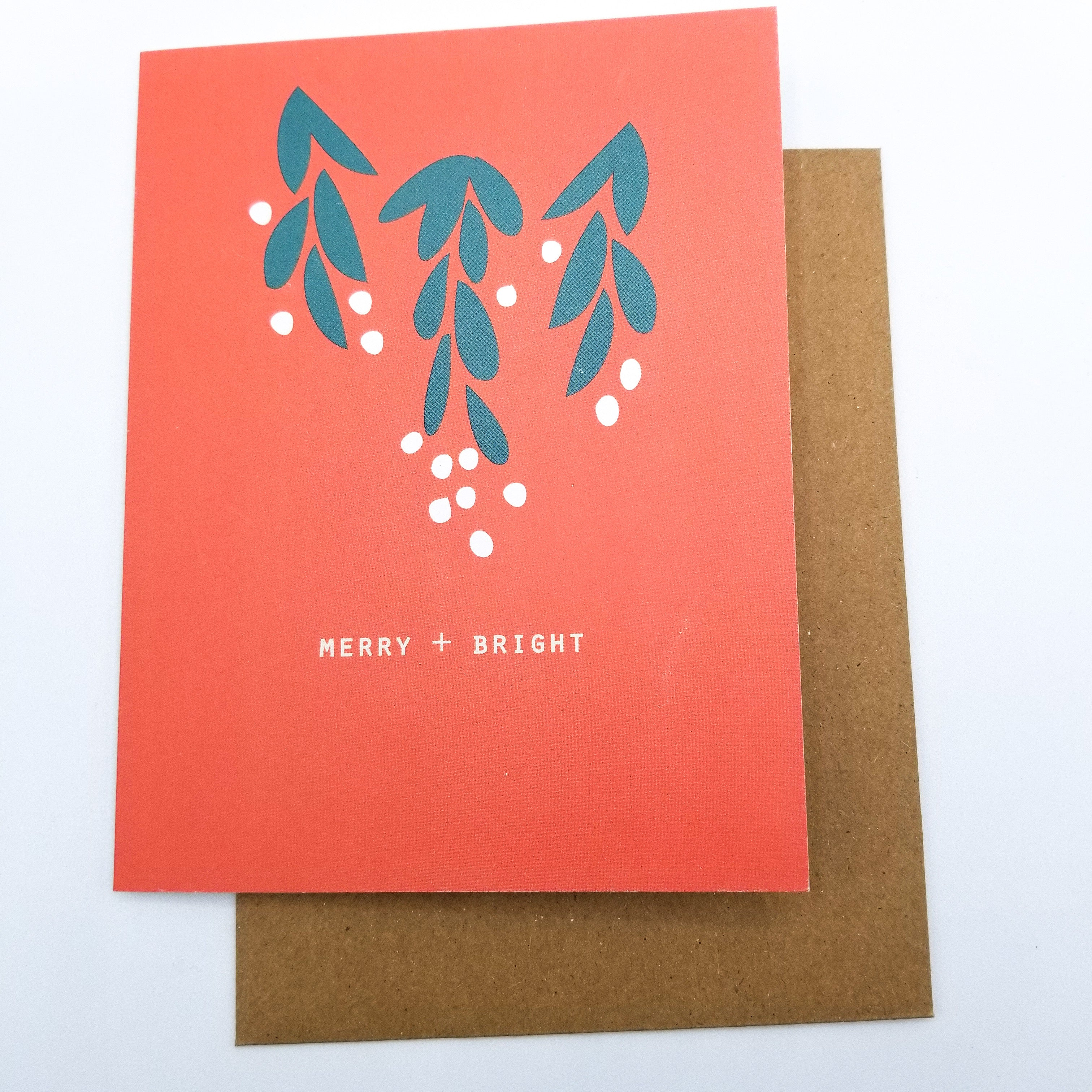 Merry + Bright Greeting Card 4x5 by Paper Canoe