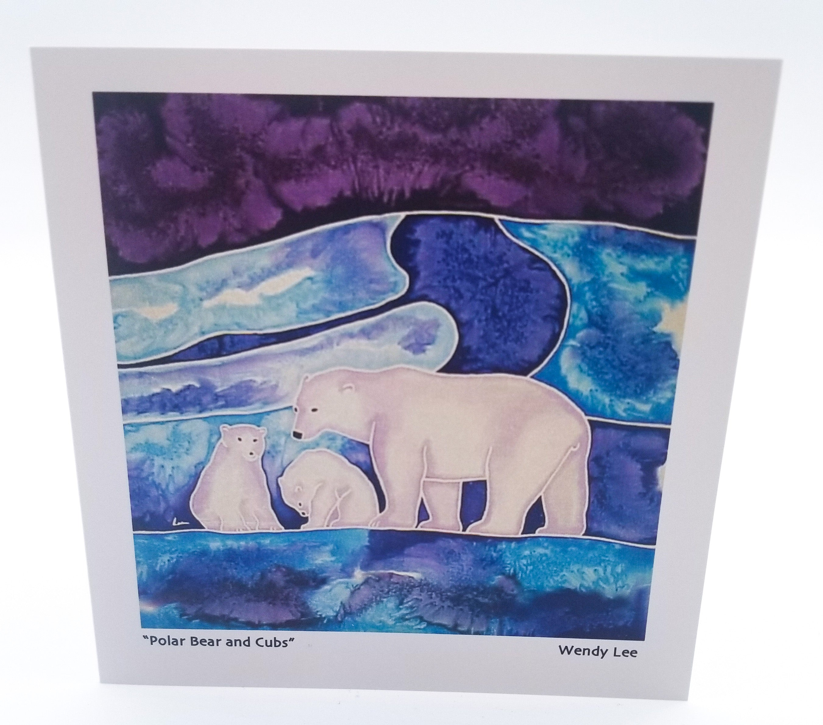 Polar Bear with Cubs Card by Silkwinds Art Cards Wendy Lee
