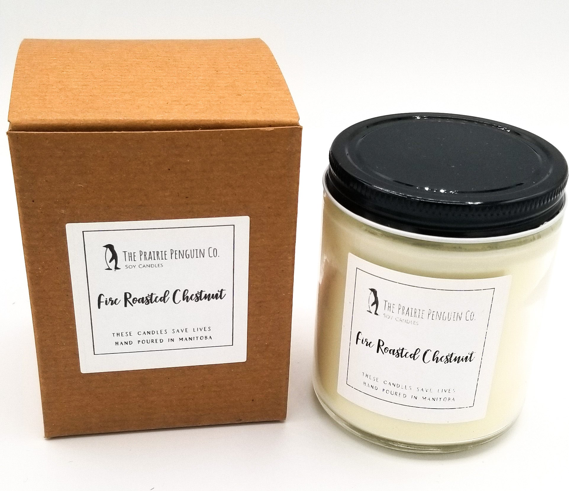 Fire Roasted Chestnut Candle 8oz By The Prairie Penguin Co