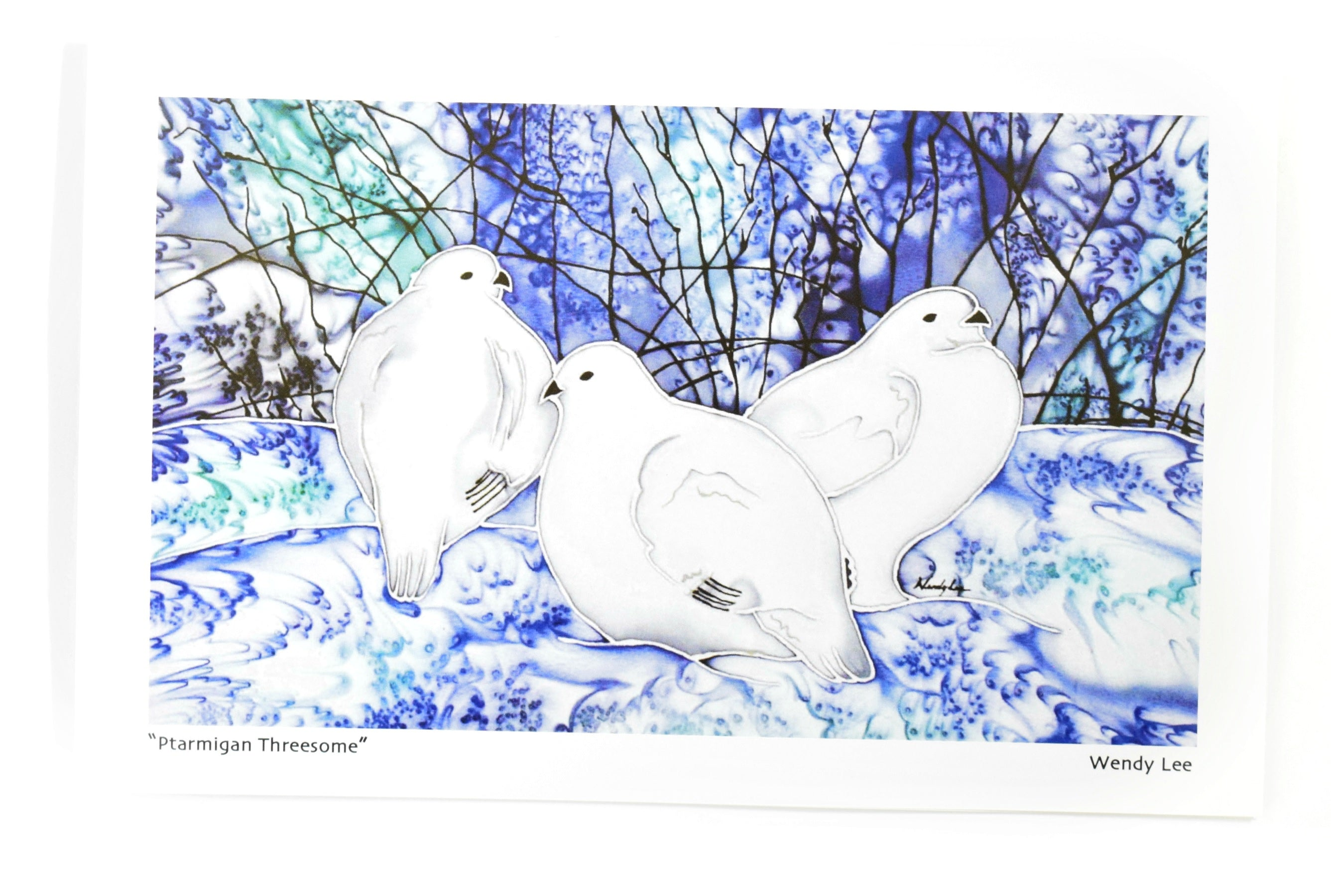 Ptarmigan Threesome Card by Silkwinds Art Cards Wendy Lee