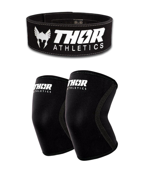 powerlift riem en knee sleeves voor krachttraining en bodybuilding