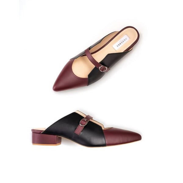 Maroon & Black Pointed Toe Leather Mule Flats With Mid Strap